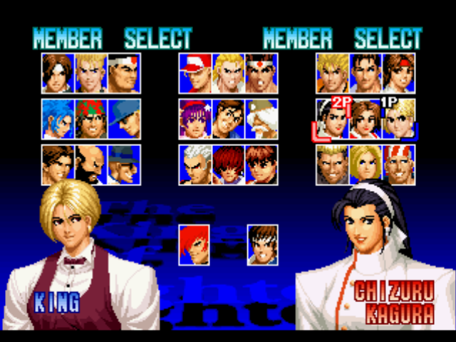 The King of Fighters '97 PlayStation Character selection