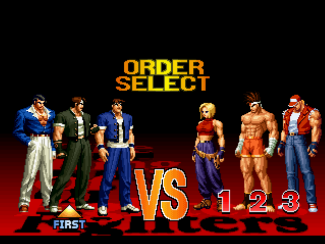 The King of Fighters '97 PlayStation Setting the battle order.