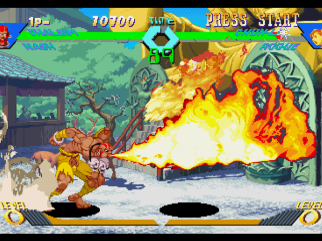 X-Men vs. Street Fighter PlayStation Chun-Li tries to counterattack Dhalsim, but she is burn-stopped by his long-range move Yoga Flame...