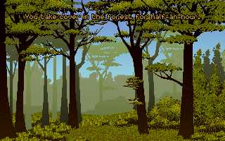 Ashes of Empire DOS Taking cover in the woods.