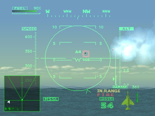 Ace Combat 2 PlayStation Fired a missile at the enemy aircraft.