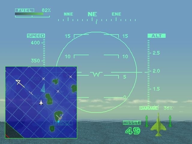 Ace Combat 2 PlayStation Looking at the map.