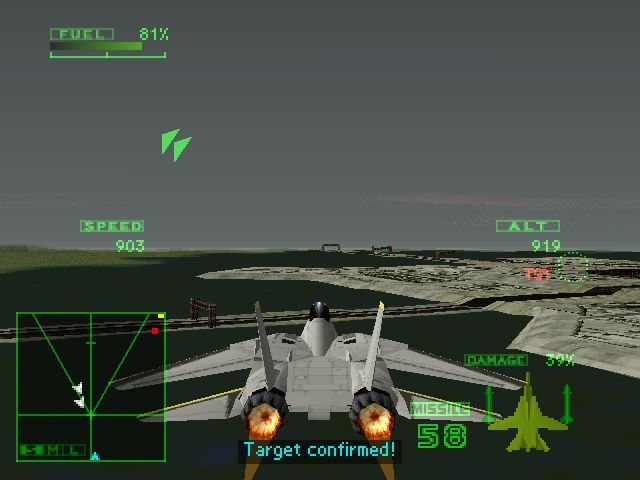 Ace Combat 2 PlayStation With full afterburner and swept back wings.