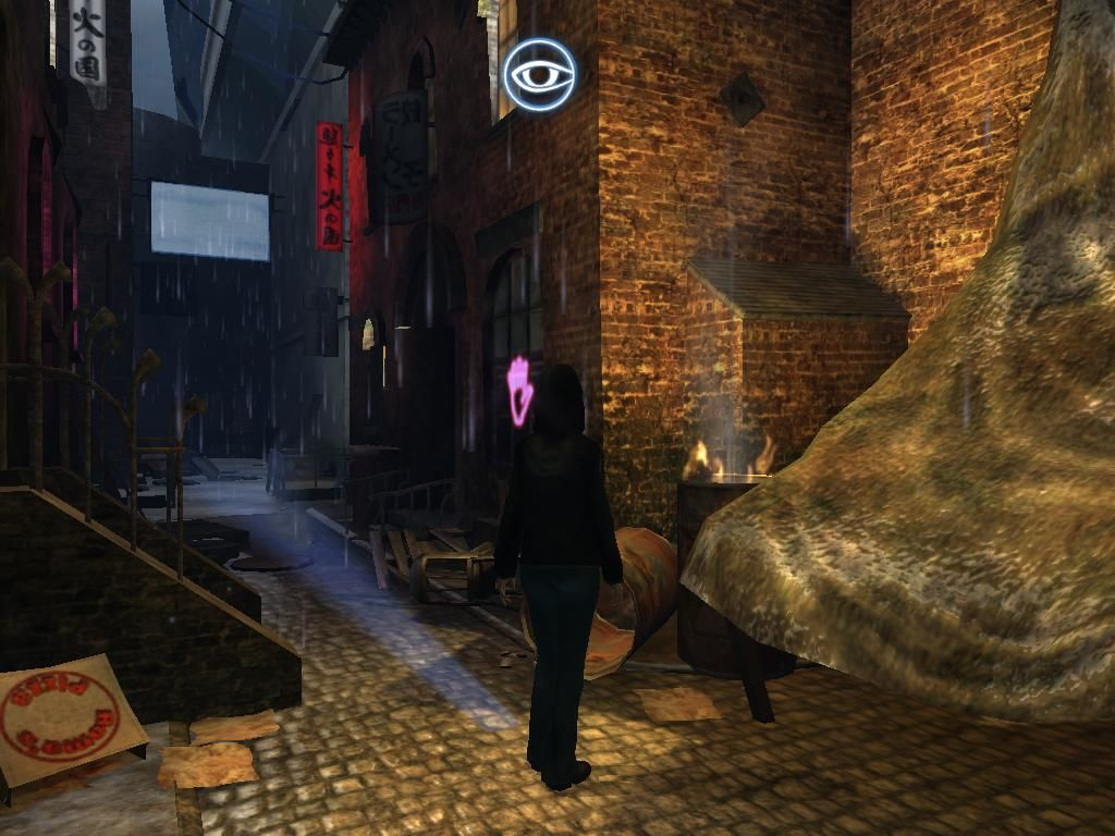 Dreamfall: The Longest Journey Windows Zoe scans the surroundings in Venice, Newport. This will highlight all the interactable objects on the screen.
