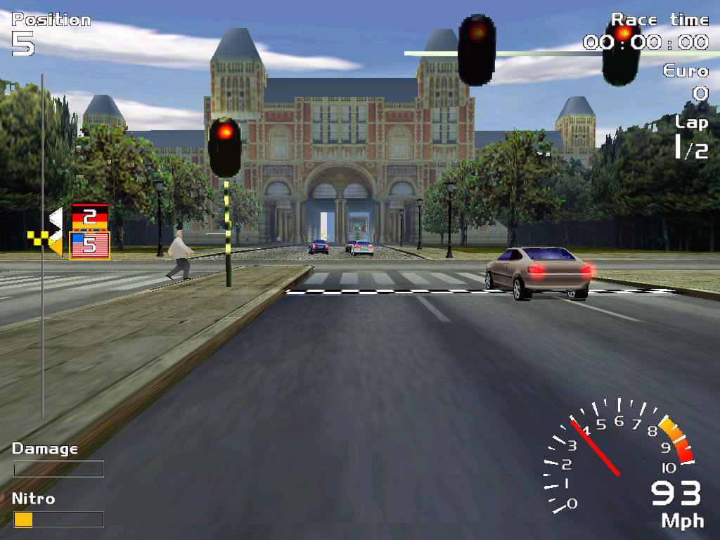 Europe Racing Windows First-person view - pedestrians cannot actually be hit.
