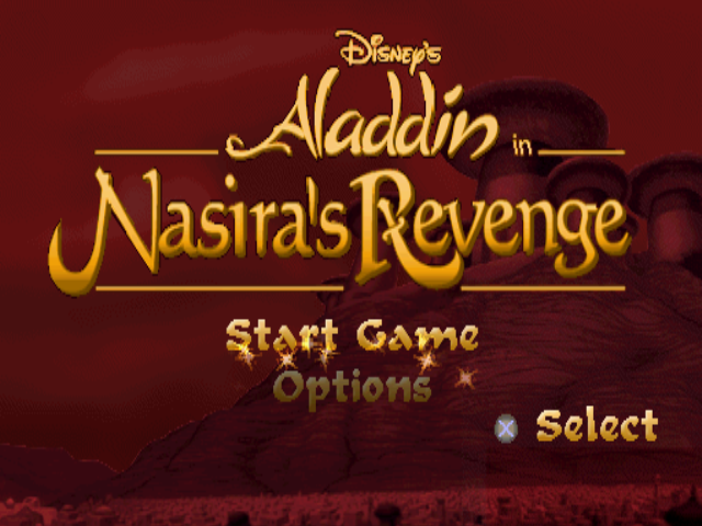 Disney's Aladdin in Nasira's Revenge PlayStation Title screen / Main menu
