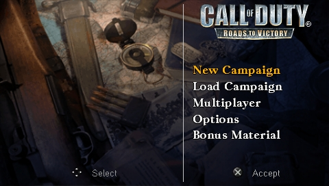 Call of Duty: Roads to Victory PSP Main menu