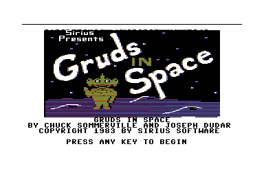 Gruds In Space Commodore 64 Title screen