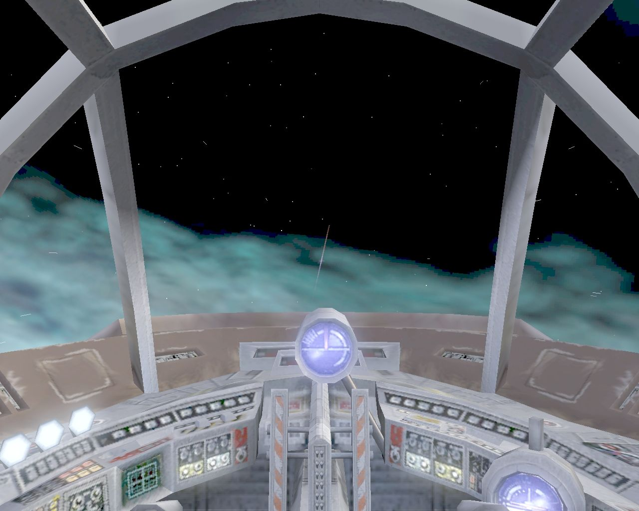 "Star Wars: Galaxies - Jump to Lightspeed Windows MandalMotors G1-M4-C ""Dunelizard"" Starfighter cockpit view"