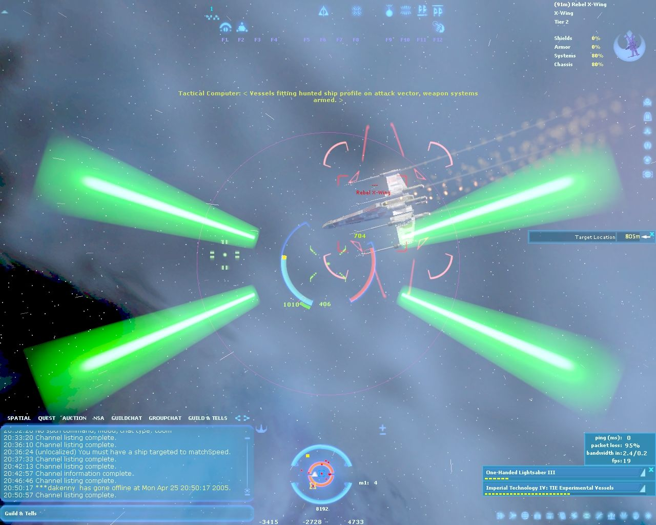 Star Wars: Galaxies - Jump to Lightspeed Windows Fight against Rebel X-Wing