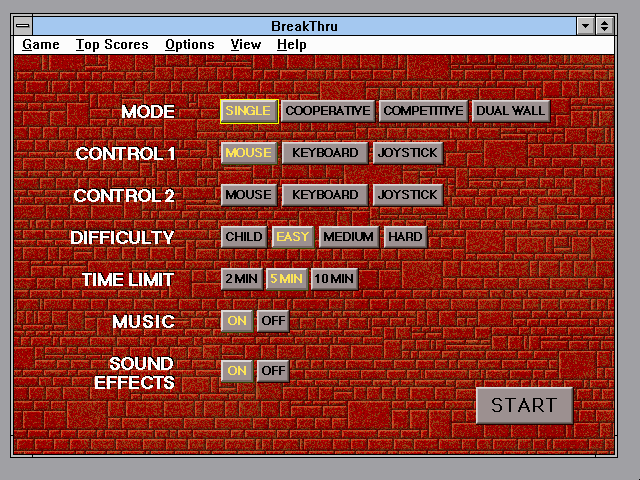 BreakThru! Windows 3.x Options menu