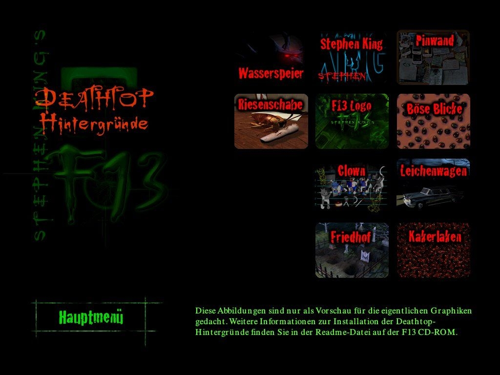 "Stephen King's F13: Ctrl, Alt, ...Shiver Windows ""Death-top"" background pictures"