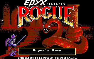 Rogue Atari ST A flashy title screen for this graphical version of Rogue.