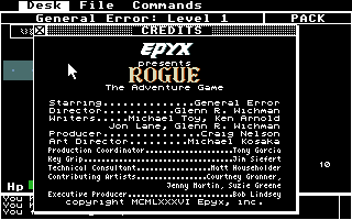 Rogue Atari ST The in-game credits. Starring... yourself!