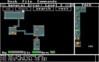 Rogue Atari ST Truer to the original, you can also play the game on this map that shows a whole level.