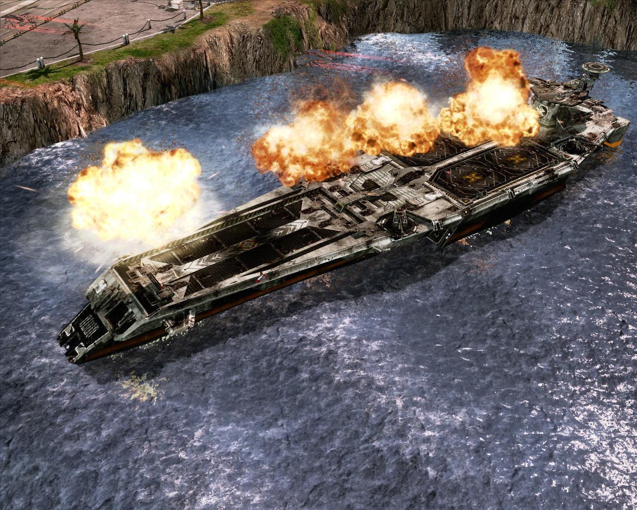 Command & Conquer 3: Tiberium Wars Windows Bombarding the GDI aircraft carrier.