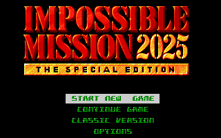 Impossible Mission 2025 Amiga Title screen