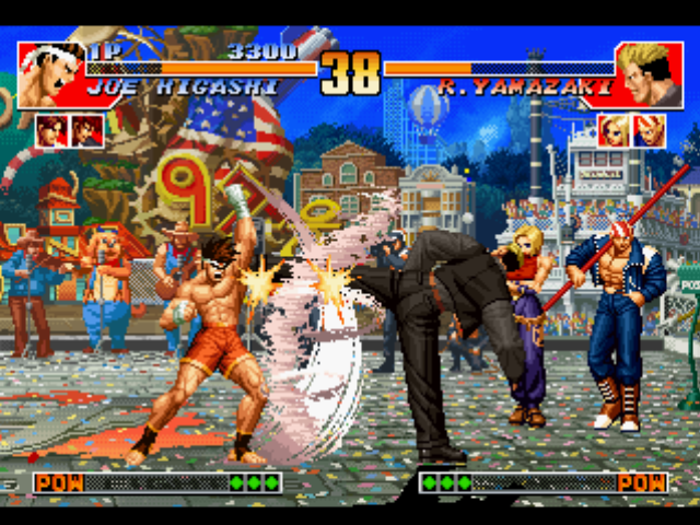 The King of Fighters '97 PlayStation Ryuji Yamazaki uses a Strong Kick to end Joe Higashi's Hurricane Upper: a double damage is imminent!