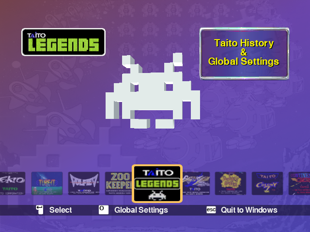 Taito Legends Windows Main Menu.
