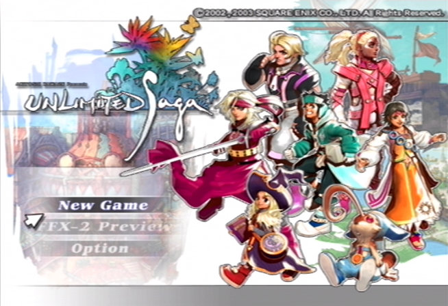 Unlimited Saga PlayStation 2 Title screen and character selection