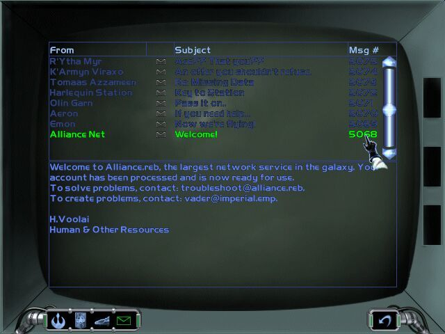 "Star Wars: X-Wing Alliance Windows Your e-mail screen. Note the joke about ""cause trouble""..."