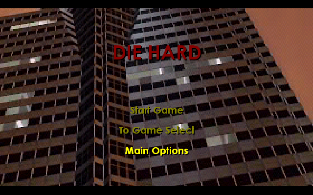 Die Hard Trilogy Windows Title screen of first DH game.