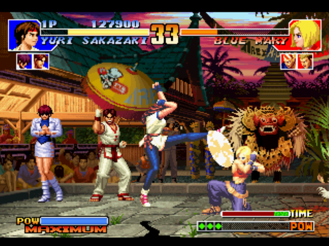 The King of Fighters '97 PlayStation Yuri Sakazaki attempts to attack Blue Mary using her move Yuri Chou Mawashi Geri... without success.