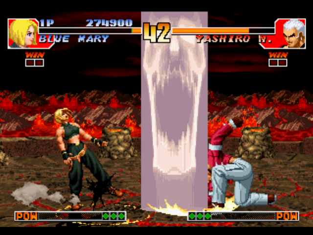 The King of Fighters '97 PlayStation Even with all the possibilities, Blue Mary couldn't escape of Orochi Yashiro's DM Araburu Daichi...