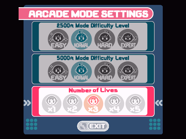 "Mr. Driller Windows In the ""Options"" menu you can alter the settings for Arcade Mode as well as have access to a ""Sound Test."""