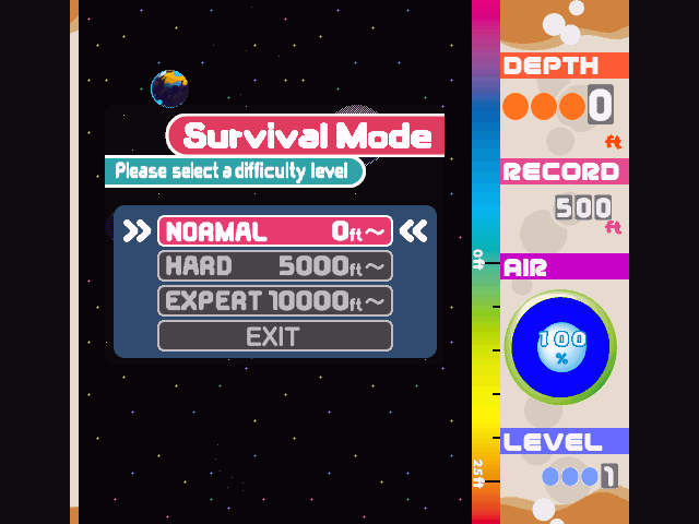 Mr. Driller Windows Survival Mode options are viewable at the beginning of the Survival Mode game.