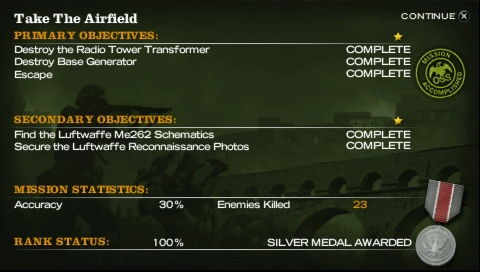 Medal of Honor: Heroes PSP Mission results