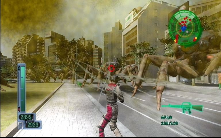 Earth Defense Force 2017 Xbox 360 Giant spiders shoot out thread that can slow your movement down to a crawl.