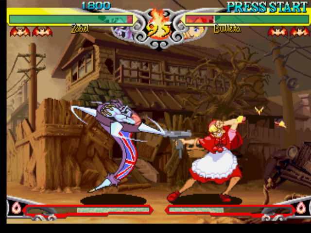 Darkstalkers 3 PlayStation Zabel Zarock (Lord Raptor) using his move Death Hurricane against Bulleta's (B.B. Hood's) offensive.