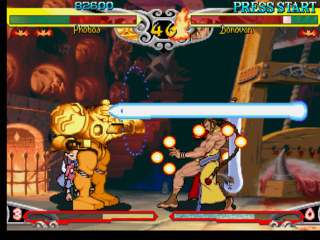 Darkstalkers 3 PlayStation With the use of his defensive posture, Donovan is prepared to block Phobos' (Huitzil's) Plasma Beam!