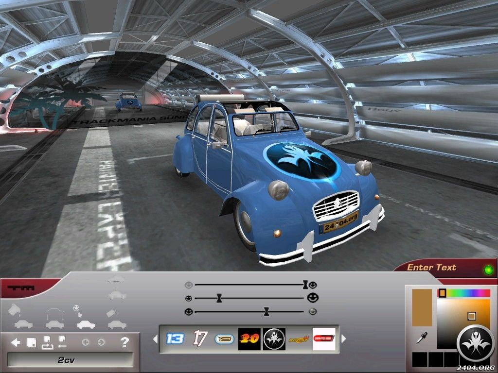 TrackMania Sunrise Windows The car painting screen