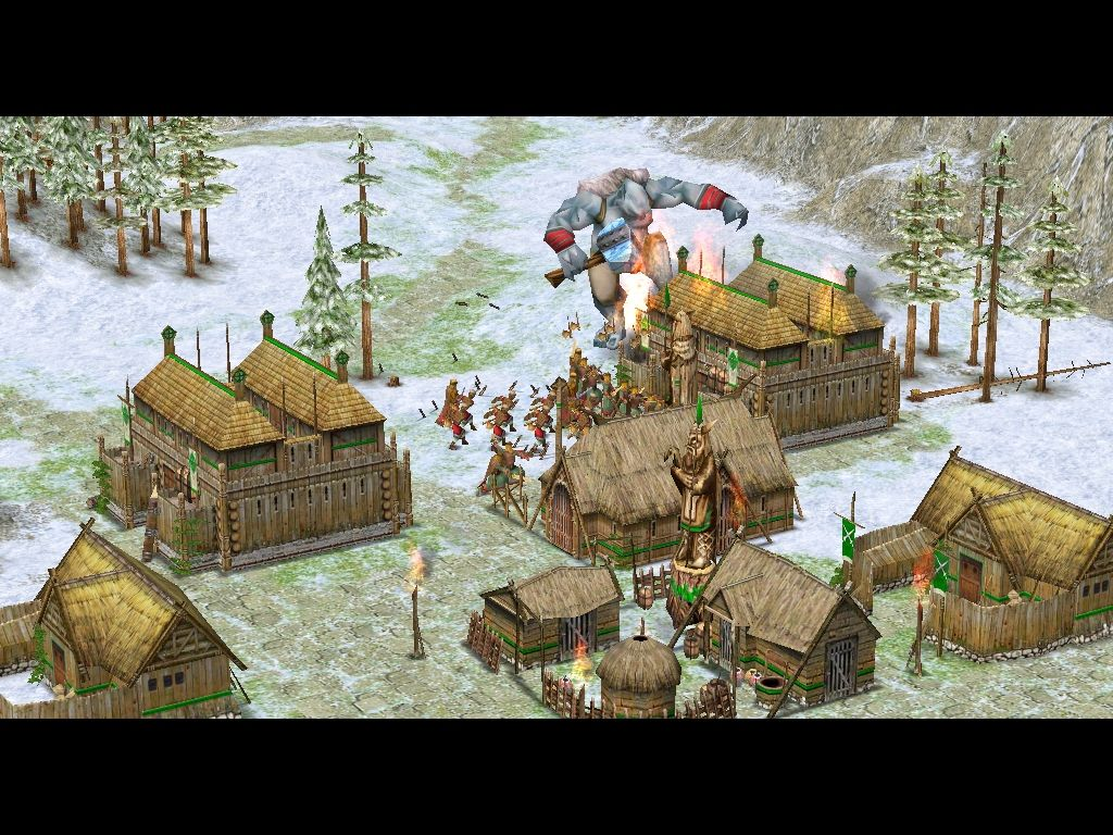 Age of Mythology: The Titans Windows The Frost Giant is attacking a Viking settlement.
