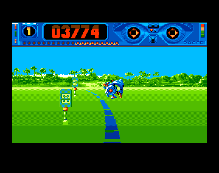 Space Racer Amiga The game has just started and I already hit one of the roadmarks