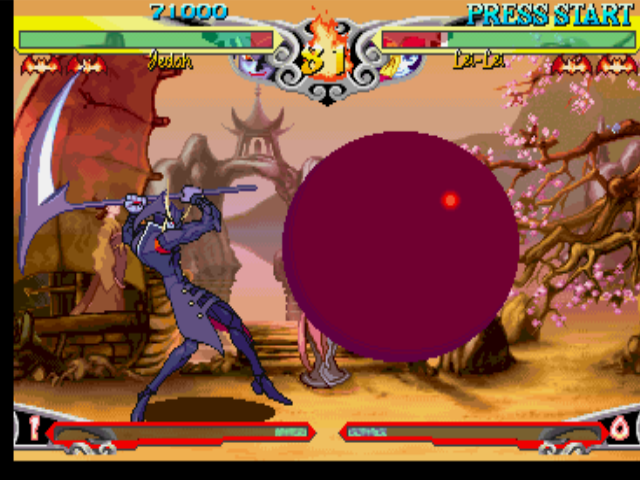 Darkstalkers 3 PlayStation Lei-Lei (Hsien-Ko) attempts to hit-attack Jedah, but his trapping move Nero = Fatica was superior...