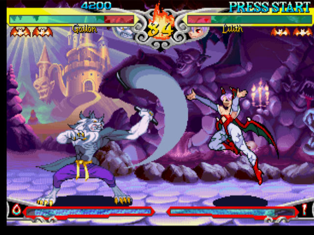 Darkstalkers 3 PlayStation Aiming to stop Lilith's attack, Gallon (John Talbain) uses his nunchaku-based move Million Flicker.