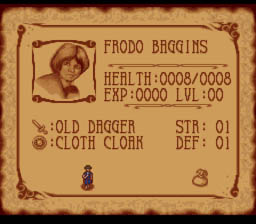 J.R.R. Tolkien's Lord of the Rings: Volume One SNES Inventory Screen