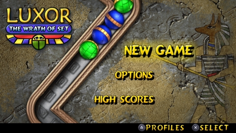 Luxor: The Wrath of Set PSP Main menu