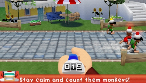 Ape Escape Academy PSP Count the running apes mini-game
