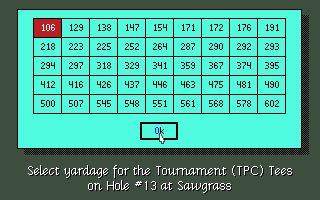 PGA Tour Golf DOS Copy protection screen