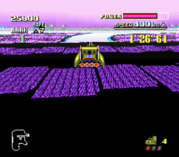 F-Zero SNES Flying over the big pit on White Land II.