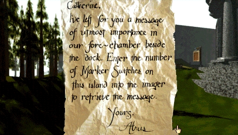 Myst PSP a letter to Catherine
