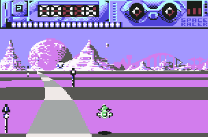 Space Racer Commodore 64 Sharp curve ahead.