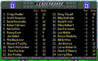 PGA Tour Golf DOS Tournament Leaderboard screen