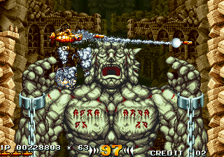 In the Hunt SEGA Saturn Level 3 is entirely vertical. You are being chased by this rock giant.