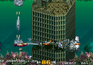 In the Hunt SEGA Saturn Blasting my way through a submerged building.