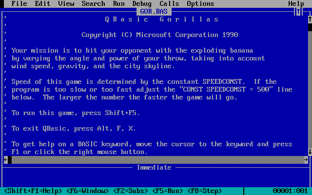 MS-DOS 5 (included games) DOS Gorillas: Directions after the game has been loaded, but before it has been run